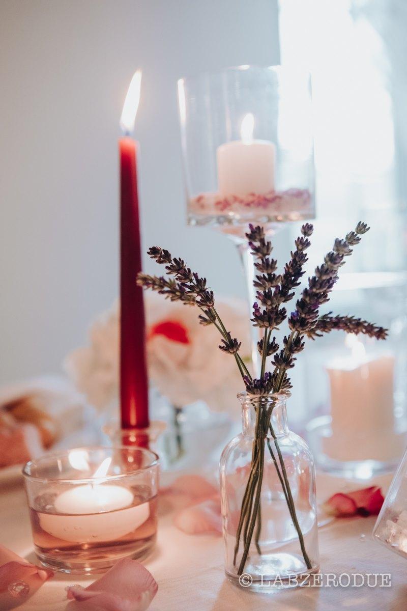 centrotavola matrimonio lavanda e candele